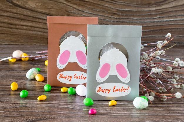 초콜릿 엽서 부활절 인사 종이 포장
