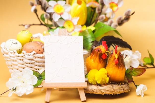 계란, 꽃, 닭고기와 함께 부활절 인사