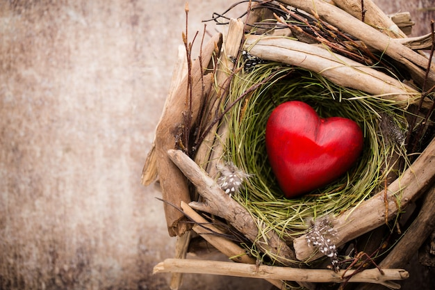 Easter heart decor on a wooden table