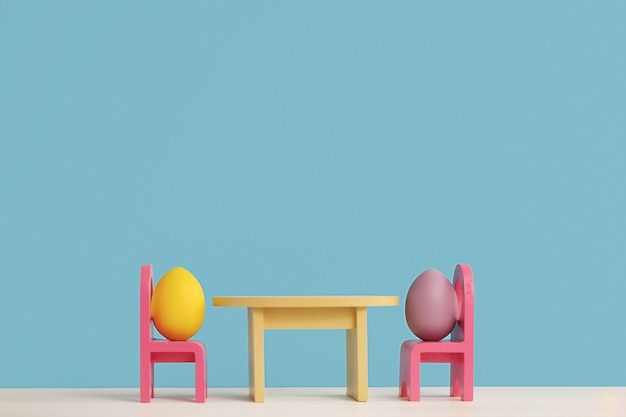 Easter holiday concept with cute eggs life. different emotions and feelings. lovely couple eggs sitting on chairs.