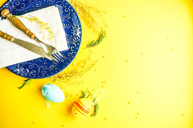 Easter holiday egg and yellow background