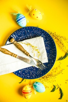 Easter holiday eggs and plate