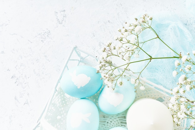 Easter. holiday. light white background, gentle pastel colors, top view, copy space,