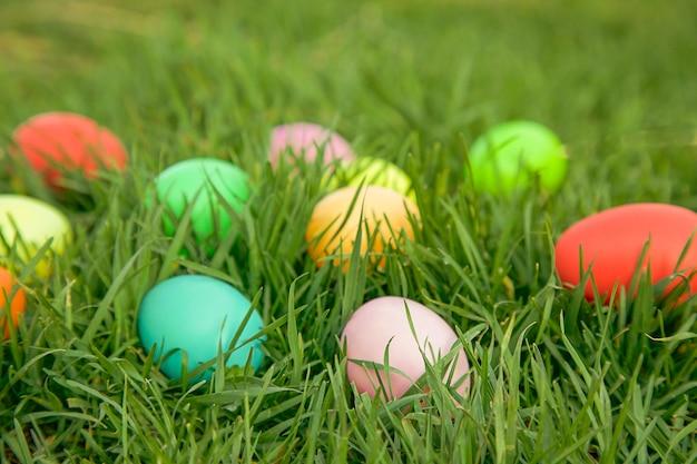 부활절 사냥 개념 푸른 잔디에 숨겨진 다채로운 계란