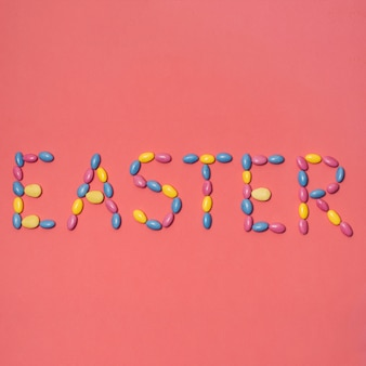 Easter inscription on red background