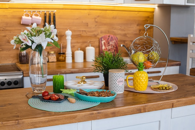 Easter kitchen with food on counter