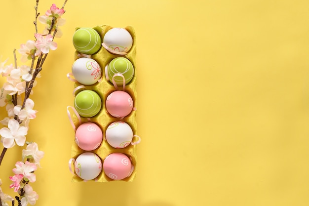Easter pastel eggs in yellow carton box and spring blooming flowers on yellow.