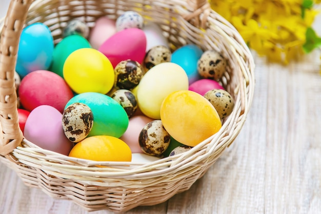 Easter photo. happy easter. eggs selective focus.