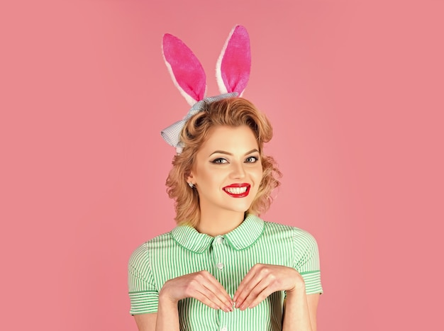Easter pinup woman, girl in rabbit ears. funny easter concept