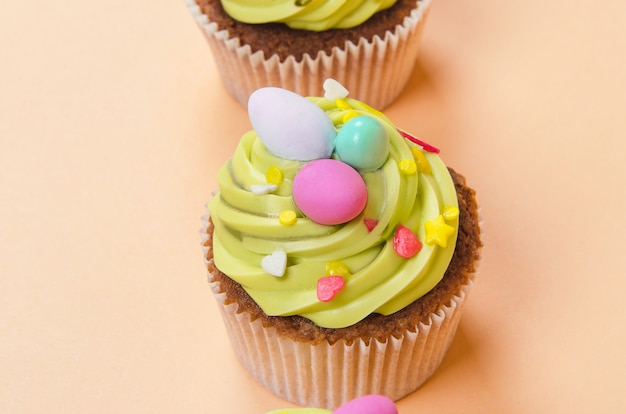Easter pistachio cupcake with decorations