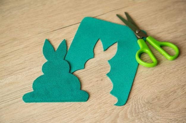 Easter rabbit. greeting card. diy holiday handicraft decorations.