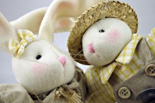 Easter rabbits closeup, stuffed