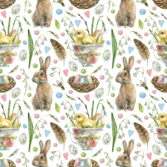 Easter seamless pattern. egg with chick sit in a cup with flowers, crodick, nest with colored eggs and white spring flowers.