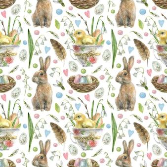 Пасха бесшовные модели. яйцо с птенцом сидим в чашке с цветами, кродиком, гнездо с крашеными яйцами и белыми весенними цветами.