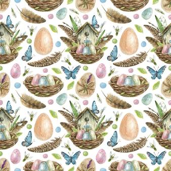 Пасхальный бесшовный фон нарисован вручную. гнездо с крашеными яйцами, скворечник с перьями, ивовые ветки и цветы, бабочки
