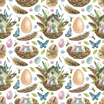 Easter seamless pattern is hand-drawn. nest with colored eggs, birdhouse with feathers, willow branches and flowers, butterflies