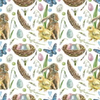 Easter seamless pattern is hand-drawn. nest with colored eggs, rabbit, chick, butterflies, feathers and spring flowers