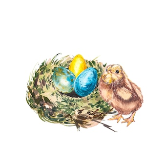 Easter set and template clip art with easter eggs