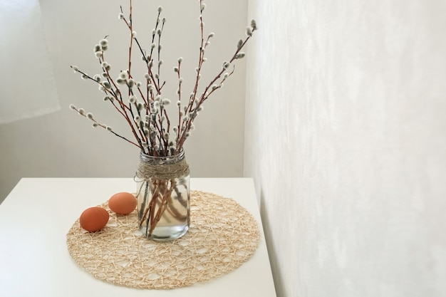 Easter still life. willow twigs with eggs.