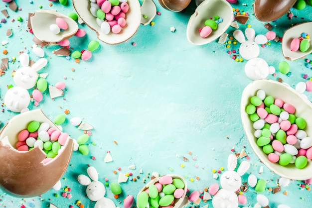 Easter sweets background with various sweet