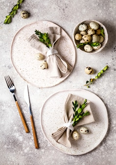 Easter table setting  . holiday decoration.