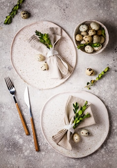Easter table setting. holiday decoration.