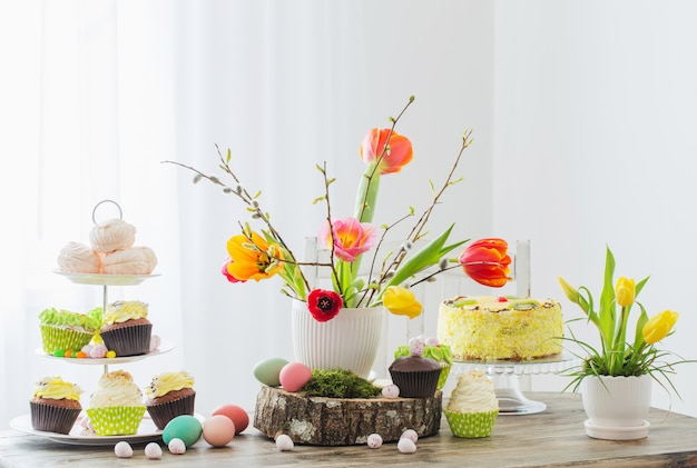 Easter table with tulips and decorations