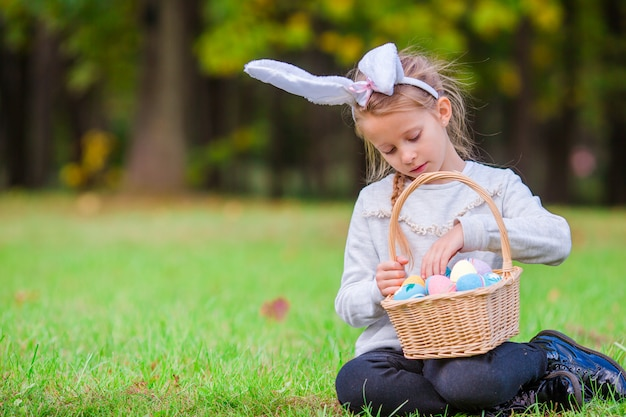 Easter time. kid on easter outdoor