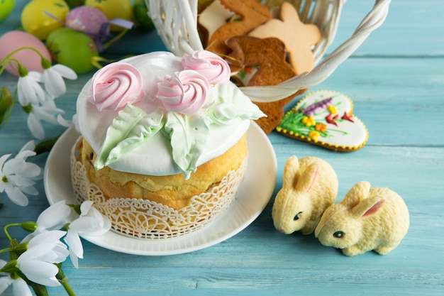 Easter traditional cake on a wooden table for the holiday