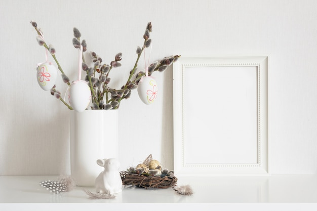 Easter tree, bunny with frame for text. spring.