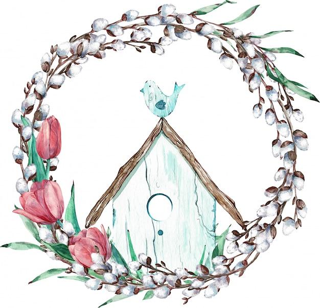 その家に座っているチューリップと鳥のイースター柳花輪。水彩イラスト。