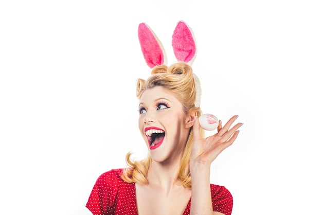 Easter woman. woman wearing a mask easter bunny and looks very sensually.