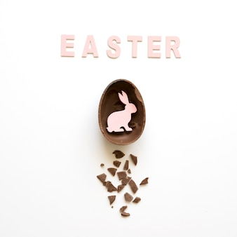 Easter word and rabbit in chocolate egg