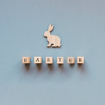Easter word and carved rabbit