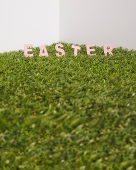 Easter word in grass
