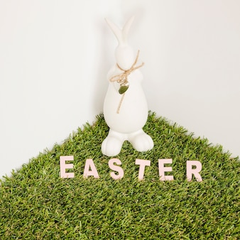 Easter word and hare figurine