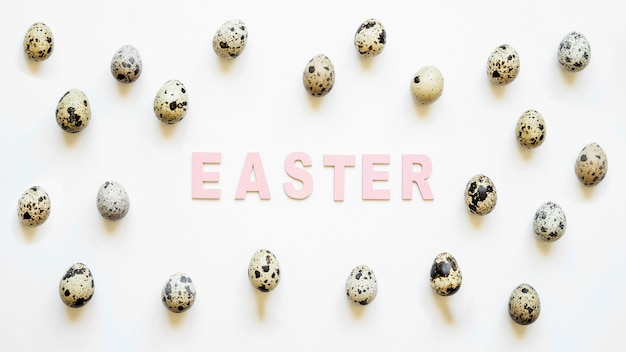 Easter word in quail eggs