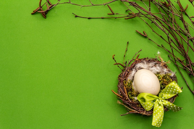 Easter zero waste decor, diy concept. design element and decor. bird nest, egg, moss, birch branches, feather. green background