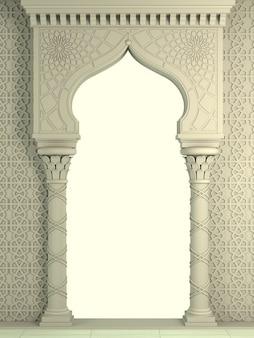 모자이크의 동부 biege 아치. 조각 건축과 고전 기둥. 인도 스타일. 장식적인 건축 구조.