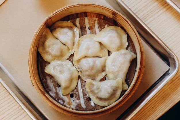 Eastern european dumplings stuffed with cherry