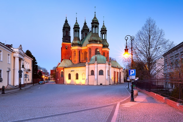 Eastern side of poznan cathedral during morning blue hour, poznan, poland.