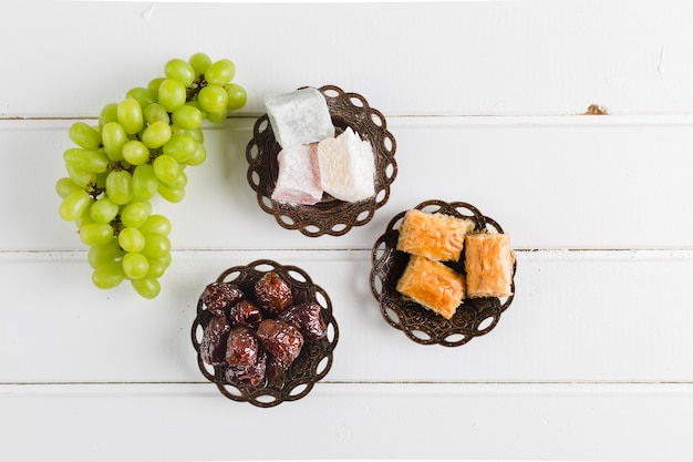 Eastern sweets and grapes