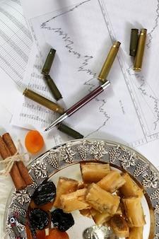 직장에서 은색 플래터 바클라바와 타마린드 스낵에 있는 동부 과자 테이블