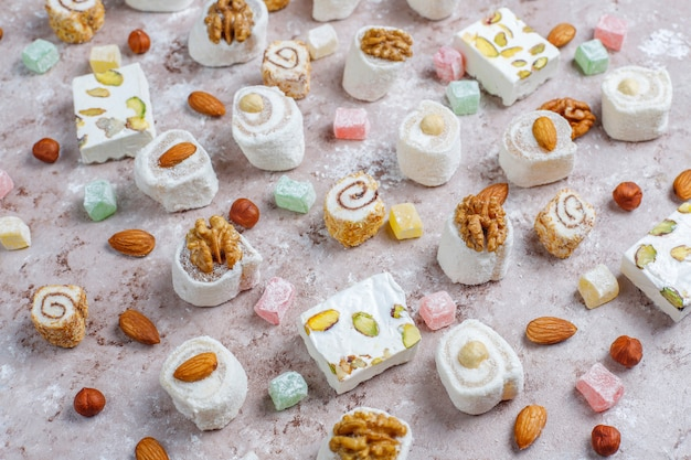 Eastern sweets.turkish delight, lokum with nuts, top view.