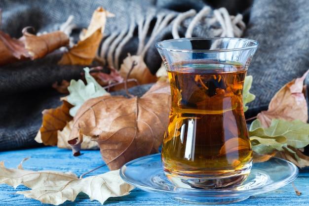Eastern turkish delight nuts tea on the table