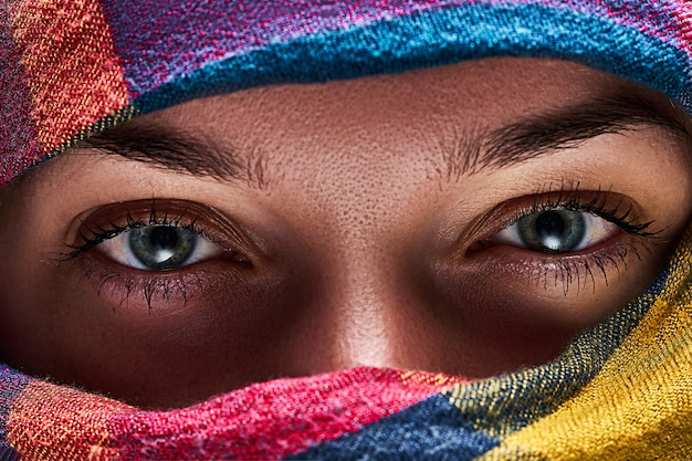 Eastern woman with narrowed eyes