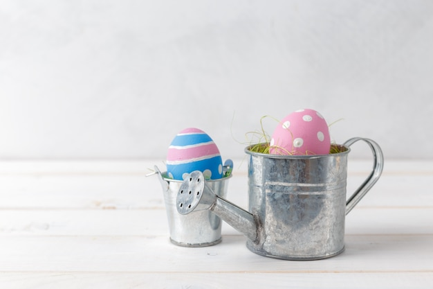 Easters eggs on watering can