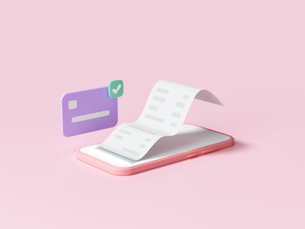 Удобная бесконтактная оплата через смартфон. мобильные онлайн-покупки и платежные операции. 3d визуализация иллюстрации