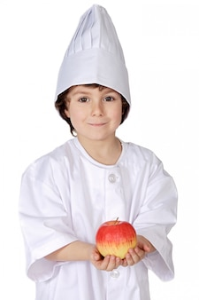Eat healthy like this kid does (a over white background)