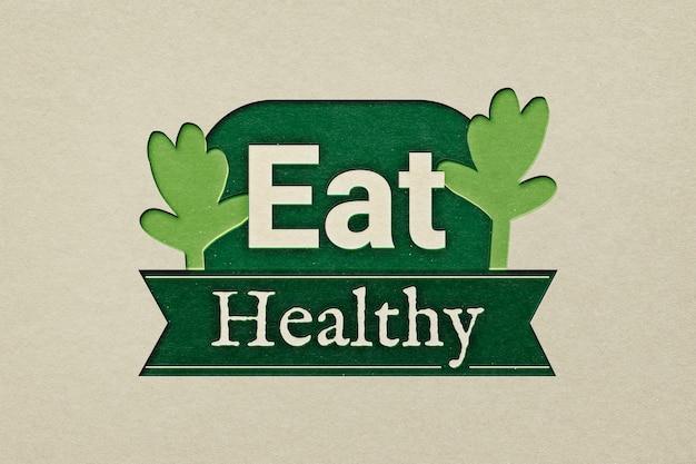 Mangia il logo del ristorante sano in stile papercraft ritagliato